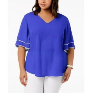 New NY Collection Ruffled Beaded Blouse Top